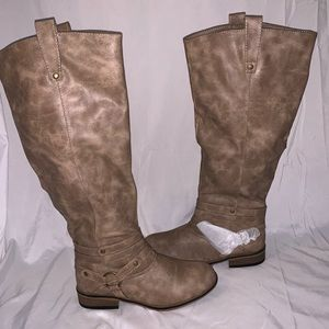 👢 tan wide calf tall riding boots